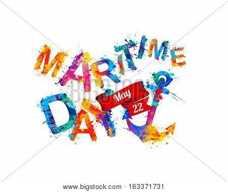 National Maritime Day Card. Splash Paint
