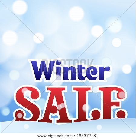 Sale banner on red background with snowflakes. Lettering winter sale. Sale new year poster.