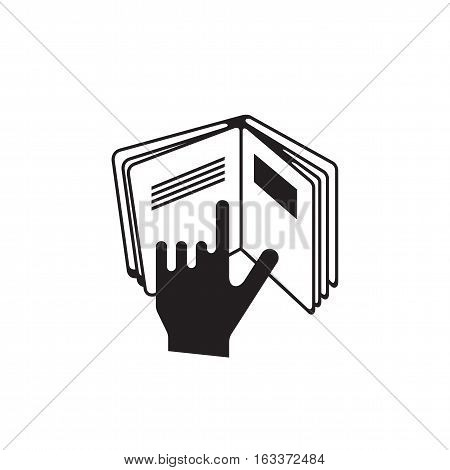 Manual book symbol. Read before use. Graphic element on white background.