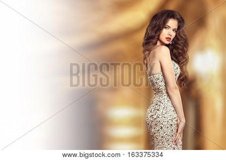 Beautiful Fashion Elegant Brunette Lady In Dress With Gems Beads. Glamour Style Beauty Portrait. Sli