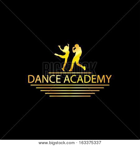 Luxury Golden Dance Academy Logo Silhouette, EPS8, Vector, Illustration