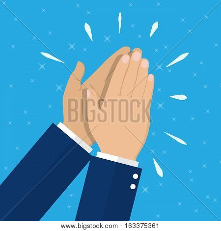 Human hands clapping. applauding hands. vector illustration in flat style
