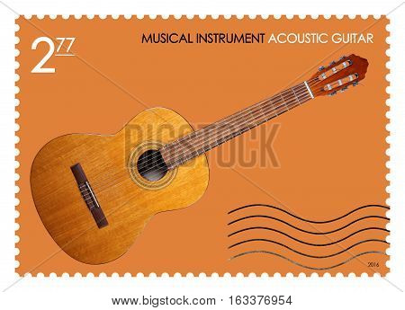 A fake post stamp shows image of retro acoustic guitar Fake series Musical Instrument.