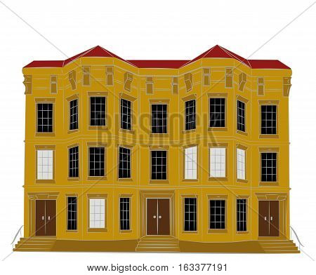 Dwelling house. Classical town architecture. Vector historical building. City infrastructure. Cityscape. Real estate. Urban village landscapes elements. Townhouse facade.