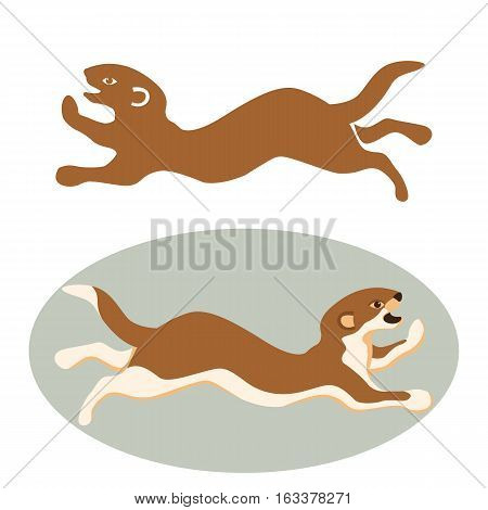 weasel animal vector illustration style Flat set