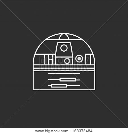 Droid in thin outline style. Vector illustrations