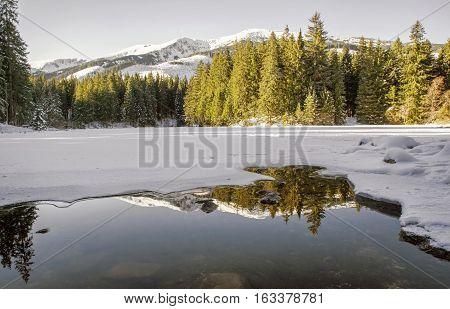 Frozen tarn Vrbicke pleso in Low Tatras mountains Slovakia