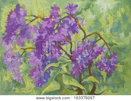 Painted image of a live oil branch of lilac in the style of impressionism
