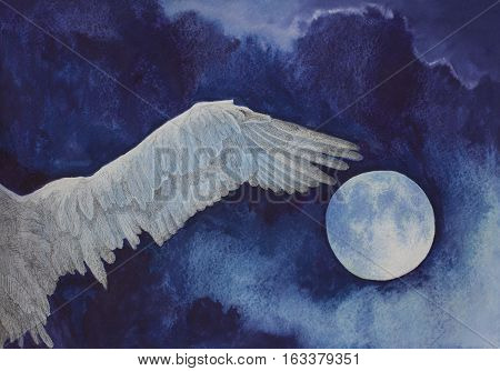 Watercolor painting white wing owl and full moon in the night sky
