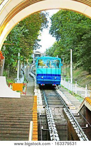Blue Kyiv funicular wagon in Kyiv, Ukraine