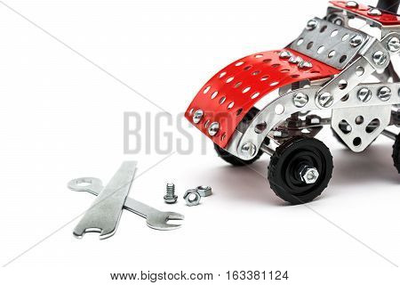 Children metal designer kit on white background