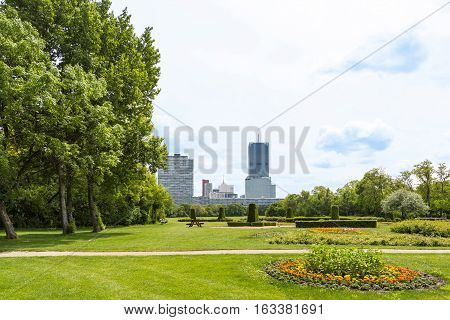 View on vienna international center, un city and office buildings seen from danube park