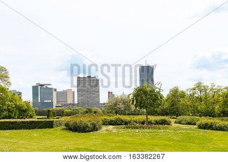 View on vienna international center, un city and office buildings seen from danube park, austria