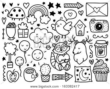 Doodles cute elements. Black vector items. Illustration with hearts and flowers, animals and tea, cloud and stars.