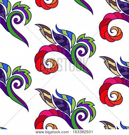 Seamless Pattern, Multicolor Abstract Squiggles, Leaves on White Background, Vector Illustration EPS10