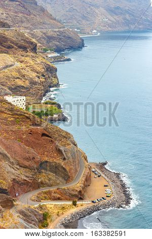 Gaviotas Beach And Road To San Andres In Tenerife, Canary Islands, Spain