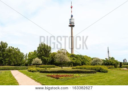 View from park on danube tower, vienna, austria