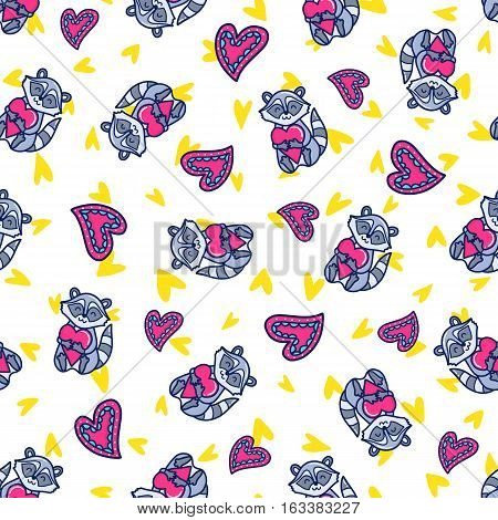 Doodles cute romantic seamless pattern. Color vector background. Illustration with hearts and raccoons. Design for T-shirt, textile and prints.