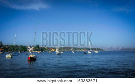 the sail boat parks in the sea in the famous bay of Sydney. with the clearly blue sky