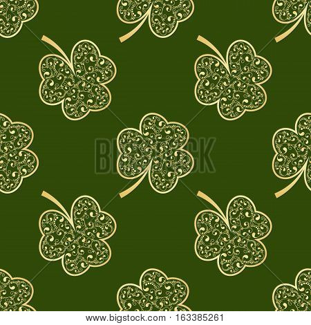 Seamless pattern made from green shamrocks isolated on white background. Vector illustration