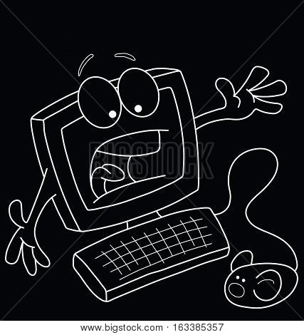 Monochrome comical outline cartoon computer terrified of the mouse  isolated on black background