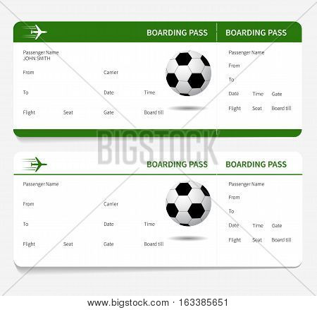 Boarding pass with Football or Soccer ball. Vector illustration.