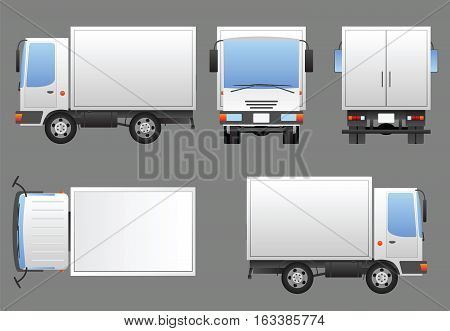 White delivery truck prepared for branding in four views - left front rear top and right. Each view is a separate group. Vector image contains no meshes for easy editing