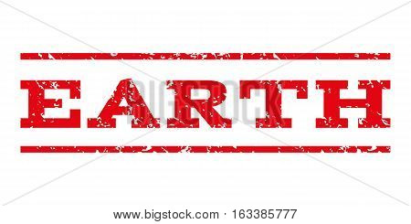 Earth watermark stamp. Text caption between horizontal parallel lines with grunge design style. Rubber seal stamp with unclean texture. Vector intensive red color ink imprint on a white background.