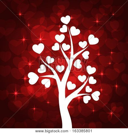 Love tree with heart leaves on red background. Vector illustration