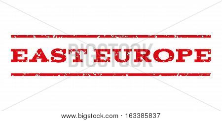 East Europe watermark stamp. Text caption between horizontal parallel lines with grunge design style. Rubber seal stamp with unclean texture.