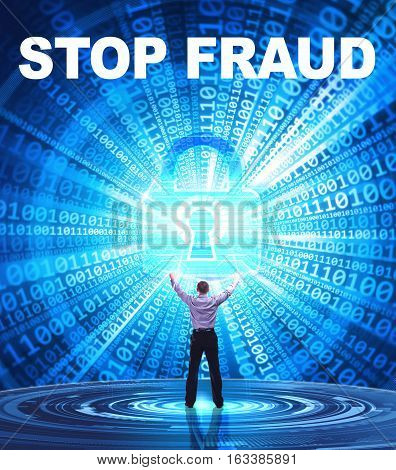 Technology, Internet, Business And Network Concept. Young Business Man Provides Cyber Security: Stop