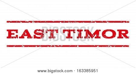 East Timor watermark stamp. Text tag between horizontal parallel lines with grunge design style. Rubber seal stamp with unclean texture. Vector intensive red color ink imprint on a white background.