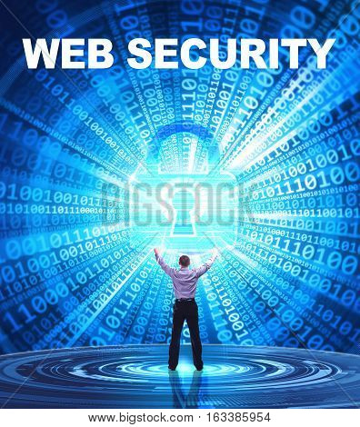 Technology, Internet, Business And Network Concept. Young Business Man Provides Cyber Security: Web