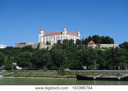 View from Danuba River at the Famous Landmark of Bratislave - The Bratislava Castle - in Slovakia