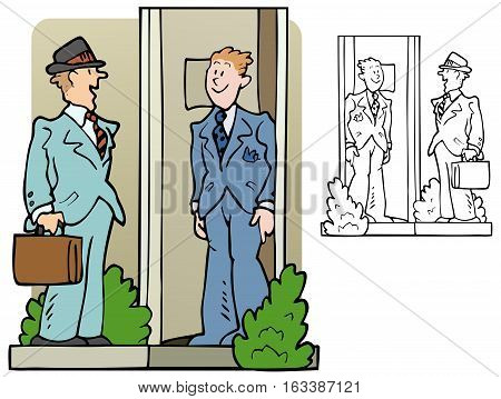Salesman or pollster at the door of a house