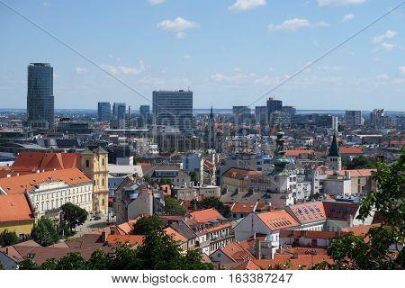 Cityscape of Slovakias Capital Bratislava, ass seen from Bratislava Castle