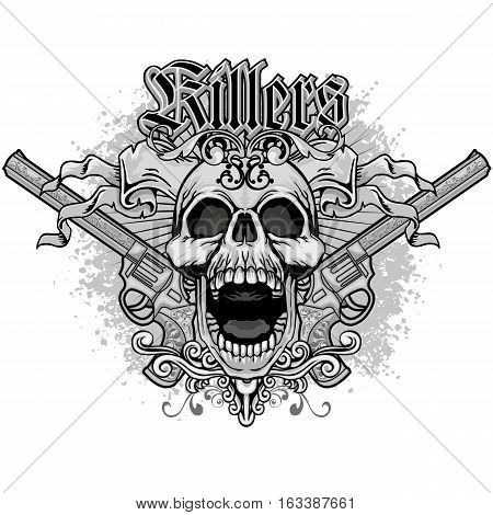 Gothic coat of arms with skull and guns, grunge.vintage design t shirts