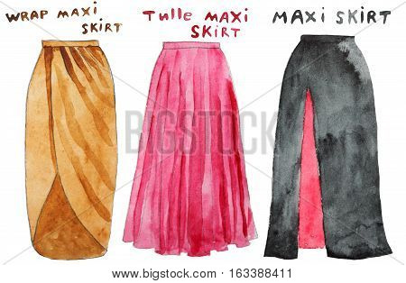 Pink tulle maxi skirt. Wrap yellow maxi skirt. Hand drawn watercolor illustration. Raster illustration