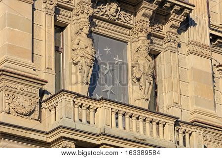 Zurich, Switzerland - 27 December, 2016: part of the facade of the Credit Suisse headquarter building on Paradeplatz square. The building was designed by architect Jakob Friedrich Wanner, built in 1872-1877.