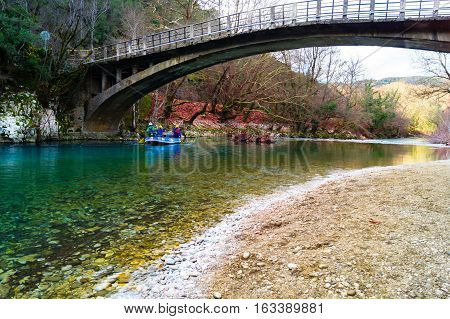 Landscape of a Rafting river. River rafting in the river Voidomatis , Zagorohoria, Greece.