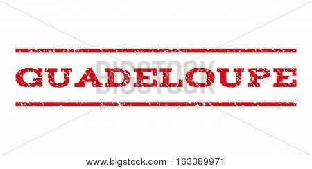 Guadeloupe watermark stamp. Text caption between horizontal parallel lines with grunge design style. Rubber seal stamp with unclean texture.
