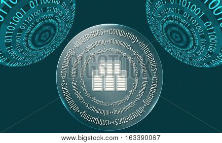 Three abstract circles with binary code and the words computing informatics