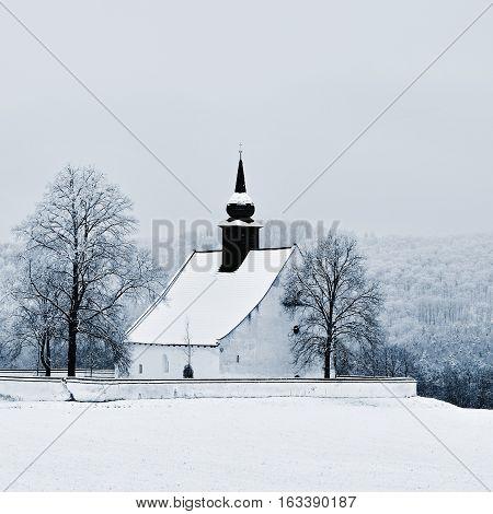 Winter Landscape With A Beautiful Chapel Near Castle Veveri. Czech Republic City Of Brno. The Chapel