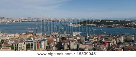 View from Galatatower at the Bosphorus, Istanbul-Galata and Beyoglu, Istanbuls Oldtown at the other Side of the Golden Horn and the Asian Side of Istanbul in Turkey