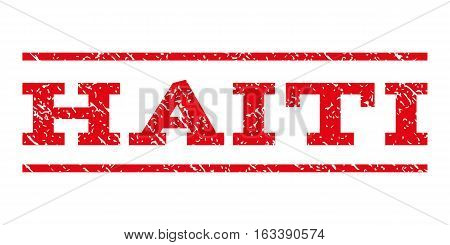 Haiti watermark stamp. Text caption between horizontal parallel lines with grunge design style. Rubber seal stamp with scratched texture. Vector intensive red color ink imprint on a white background.