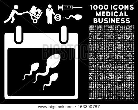 White Sperm Calendar Day vector icon with 1000 medical business pictograms. Set style is flat symbols, white color, black background.