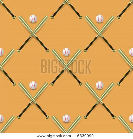Baseball Sport Inventory Seamless Pattern Isolated on Orange Background. Metal Bat and Leather Ball Texture
