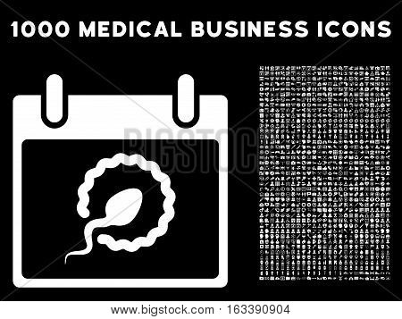 White Sperm Insemination Calendar Day vector icon with 1000 medical business pictograms. Set style is flat symbols, white color, black background.