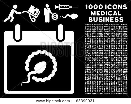 White Sperm Insemination Calendar Page vector icon with 1000 medical business pictograms. Set style is flat symbols, white color, black background.