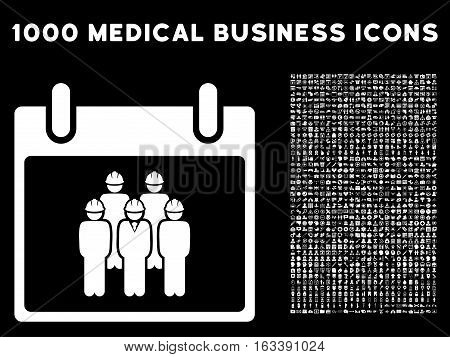 White Staff Calendar Day vector icon with 1000 medical business pictograms. Set style is flat symbols, white color, black background.